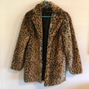Oversize Faux Animal Print Leopard Fur Coat